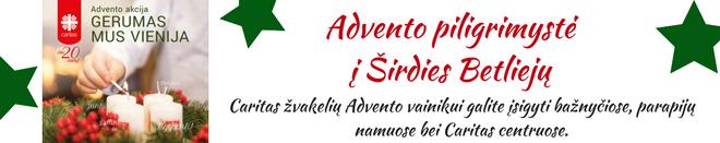 Gerumo akcijos baneris Caritas svetainei